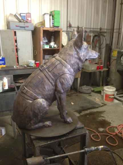 German Shepherd Bronze Statue K9 Officer